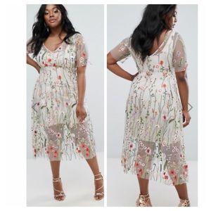 Elvi Floral Embroidered Floral Net Dress Size 22